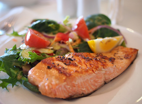 Baked Salmon and Salad with Olive Oil and Fresh Lemon Juice