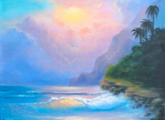 """""""Тропический закат"""", холст 40х50 см"""