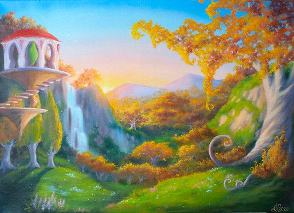 """Авторская картина """"Леса вечной песни"""", холст 50х70 см"""
