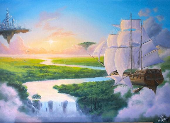 "Авторская картина ""Над облаками"", холст 50х70 см"