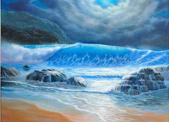 """Картина маслом """"Океанская волна"""""""