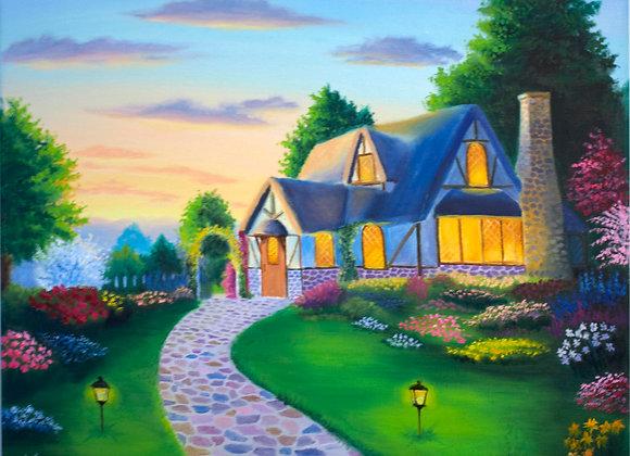 """Картина маслом """"Дом на улице счастья"""""""