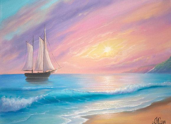 "Авторская картина ""Море зовёт"", холст 30х40 см"