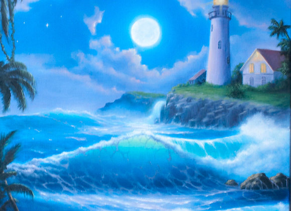 """""""Лунный маяк"""", холст 50х60 см"""