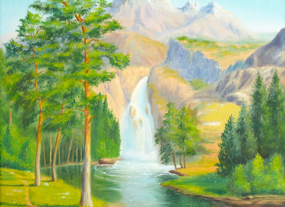 """Горы и водопад"", холст 40х50 см"
