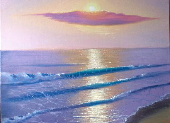 """Картина маслом """"Фиолетовый вечер на море"""""""