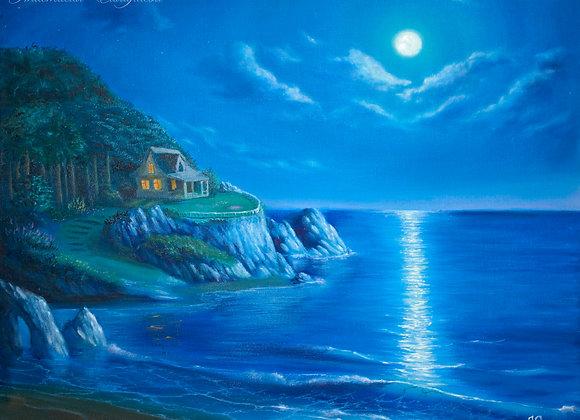 """Картина маслом """"Дом на берегу моря"""""""