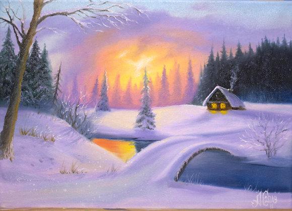 """Картина маслом """"Волшебница Зима"""", 25х35 см"""
