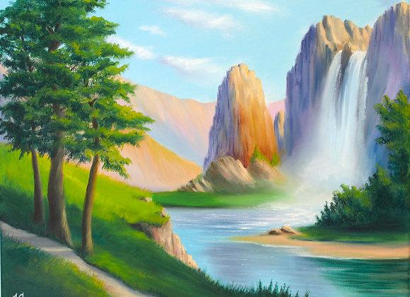 """Картина маслом """"Каньоны и водопады"""""""