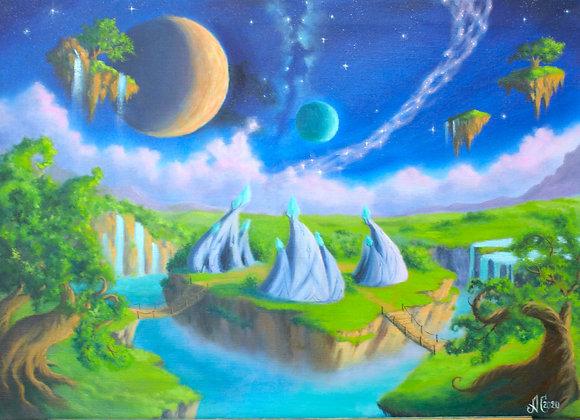 "Авторская картина ""Вечерний Награнд"", холст 50х70 см"