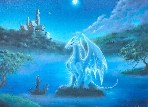 "Авторская картина ""Лунный дракон"", холст 40х50 см"