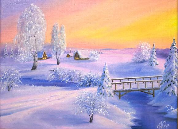 """Картина маслом """"Сказки зимы"""", 30х40 см"""