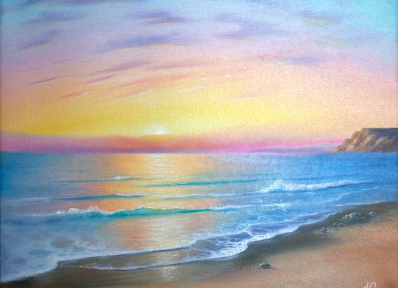 """Картина маслом """"Закат на море"""", 40х50"""