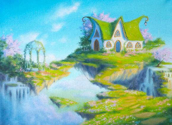 """Авторская картина """"Дом на краю света"""", холст 40х50 см"""