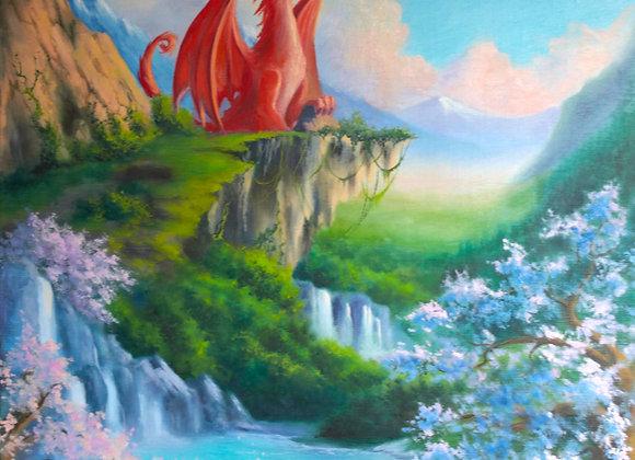 """Авторская картина """"Красный дракон"""", холст 60х50 см"""