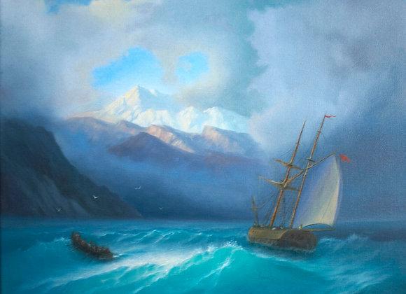 Бурное море, по мотивам Айвазовского, холст 40х50 см