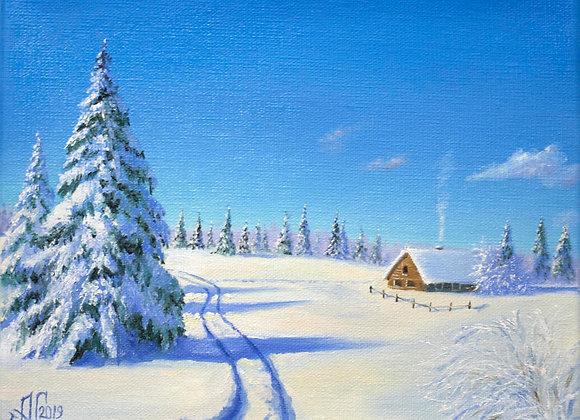 """Картина маслом """"Мороз и солнце"""", 24х30 см"""