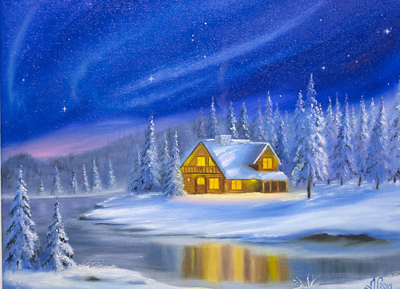 "Картина маслом ""Зимняя ночь. Север"", холст 30х40 см"