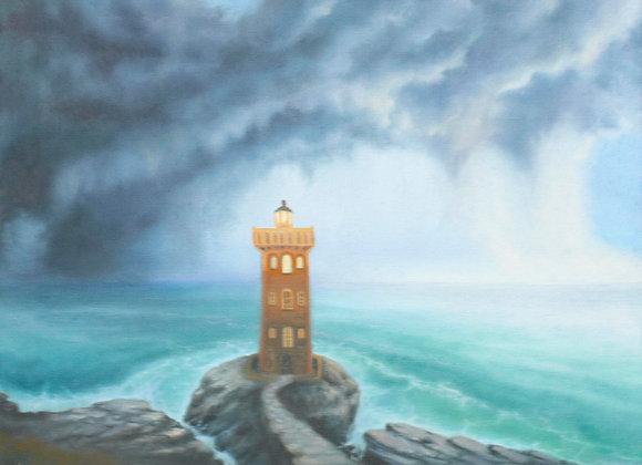 "Картина маслом ""Грядет буря"", холст 40х50 см"