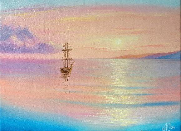 """Картина маслом """"Нежно розовый рассвет"""""""