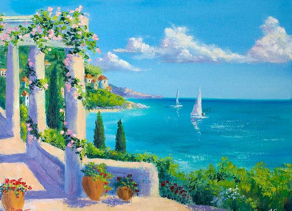 """Картина маслом """"Средиземноморский пейзаж"""""""