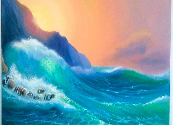 """Картина маслом """"Море скалы обнимало..."""""""