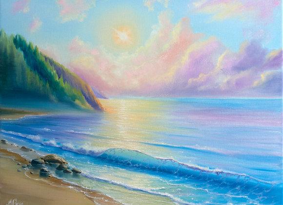 """Картина маслом """"Розовые облака, зелёные берега"""""""