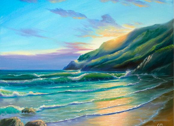 """Картина маслом """"Изумрудное побережье"""""""