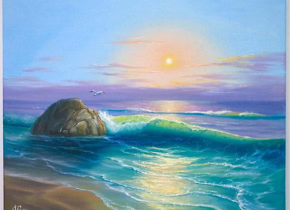 """Картина маслом """"Мерцание изумрудных волн"""""""