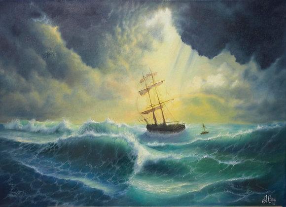 """""""Гнев моря"""", холст 50х70 см"""