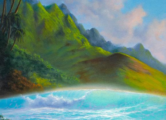 """Картина маслом """"Гавайский пейзаж"""", 40х50 см"""