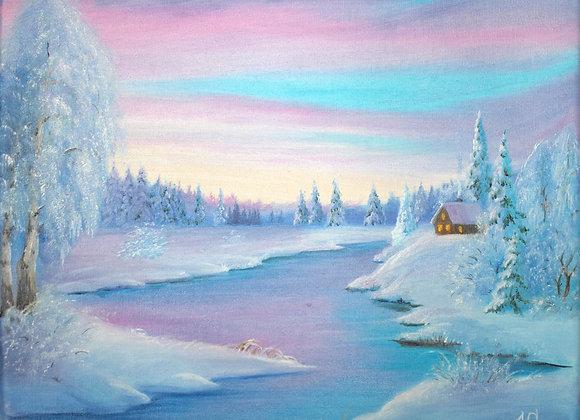 "Картина маслом "" Снежный край"", 25х30"