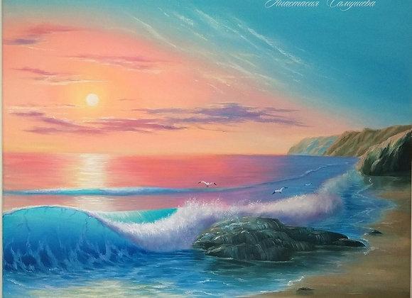 "Картина маслом ""Закатное зарево на море"""