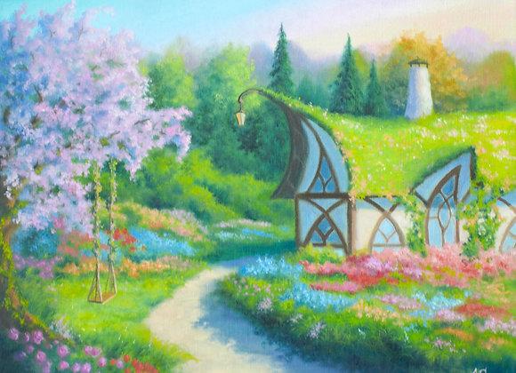 """Картина маслом """"Сказочный домик"""", холст 40х50 см"""