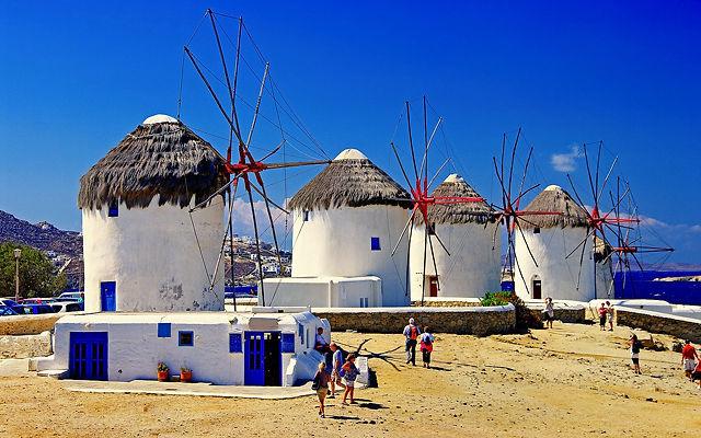 Греция Миконос Ветряные мельницы
