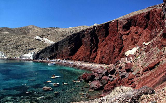 Греция Санторини Красный пляж Акротири