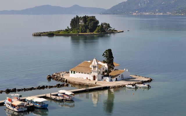 Греция Корфу Мышиный остров и монастырь Влахерна