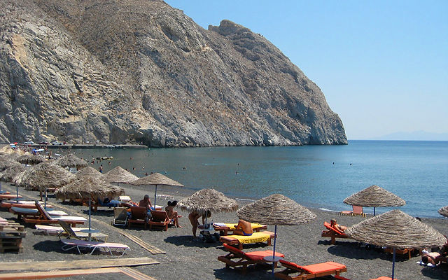 Греция Санторини Черный пляж Перисса