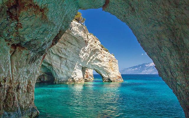 Греция Закинф Голубые пещеры