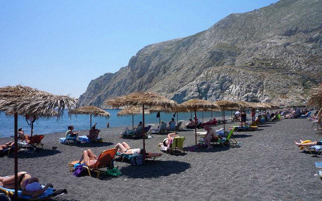Греция Санторини Пляж Камари