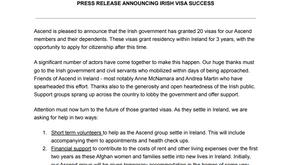 Press release announcing Irish visa success