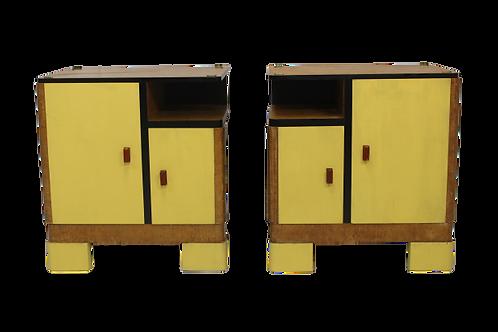 Paire de tables de chevet retro 50 restaurée et relookée. JOE