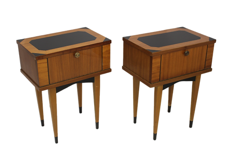Paire de tables de chevet vintage bois vernis année 50