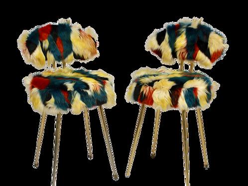 Paire de chaises Pelfran années 70 tissu fourrure multicolores. Réf. RAIMBOW