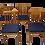 Thumbnail: Set de 4 chaises scandinave année 50 restaurées tissu bleu foncé.