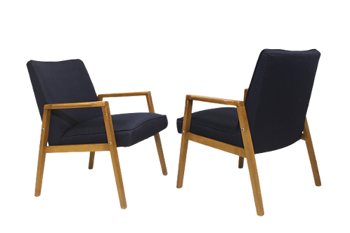 Paire de fauteuils scandinaves années 60 restaurés tissu bleu profond Ref/ Cobla