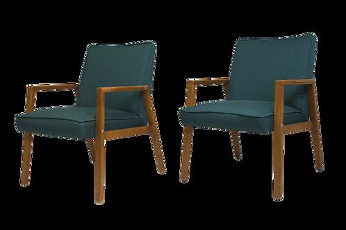 Paire de fauteuils scandinaves années 60 restaurés tissu vert sapin.ref emeraude