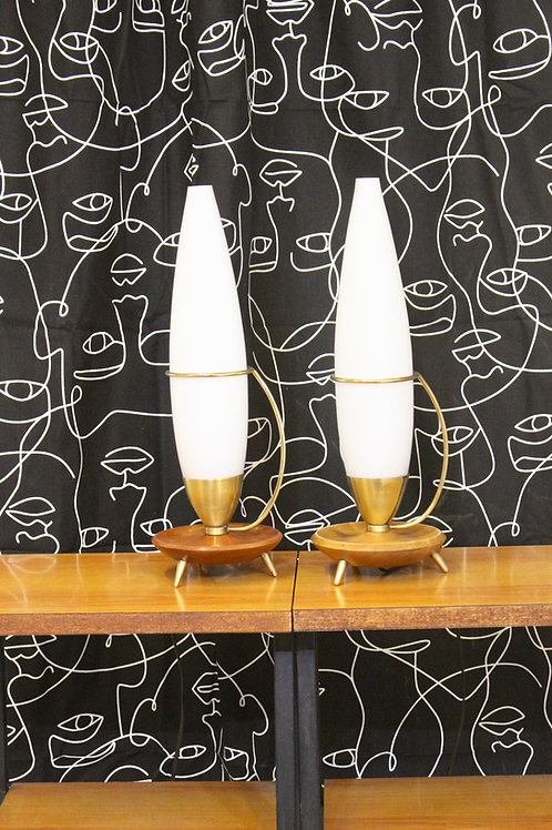 Lampe Tripode Vintage en Teck et Laiton édition Philips, 1960s