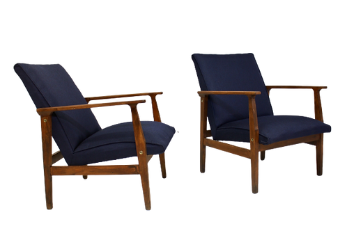 Paire de fauteuils scandinaves années 60 restaurés tissu bleu foncé VIOLETTE