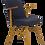 Thumbnail: Chaise scandinave accoudoirs suspendus, retapissée tissu bleu nuit antitache. Re